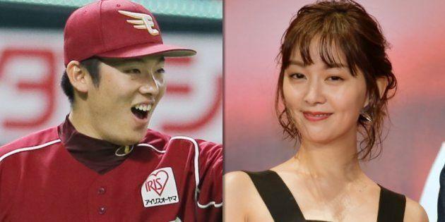 松井裕樹投手(左)と石橋杏奈さん(右)