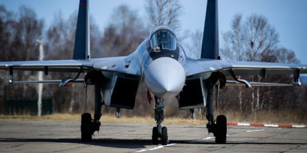 PRIMORYE TERRITORY, RUSSIA - APRIL 7, 2017: A Sukhoi Su-35S multirole fighter aircraft seen after performing...