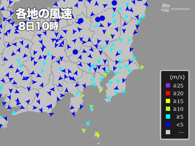台風13号の強風域、関東のほぼ全体を覆う。夕方以降がピーク