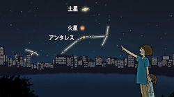 24日夜 火星と土星、アンタレスが接近