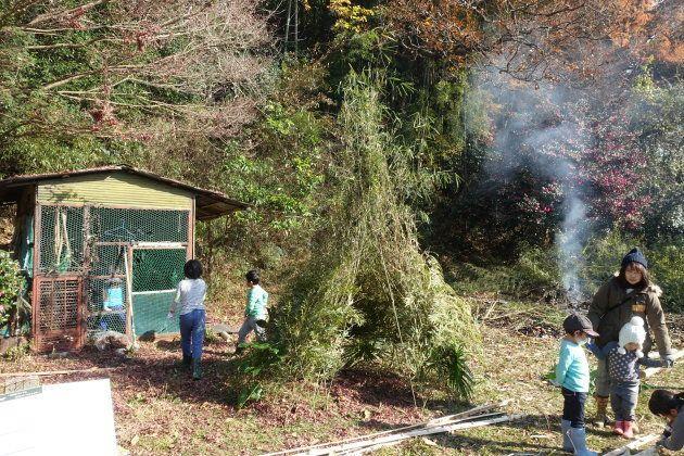伐採した大量の竹の枝を1ヵ所に集めて、自分たちだけのお手製テントを完成