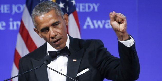 BOSTON - MAY 7: Former U.S. President Barack Obama speaks after receiving the annual John F. Kennedy...