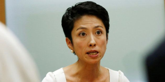 Japan's main opposition Democratic Party's lawmaker Renho speaks during an interview with Reuters in...