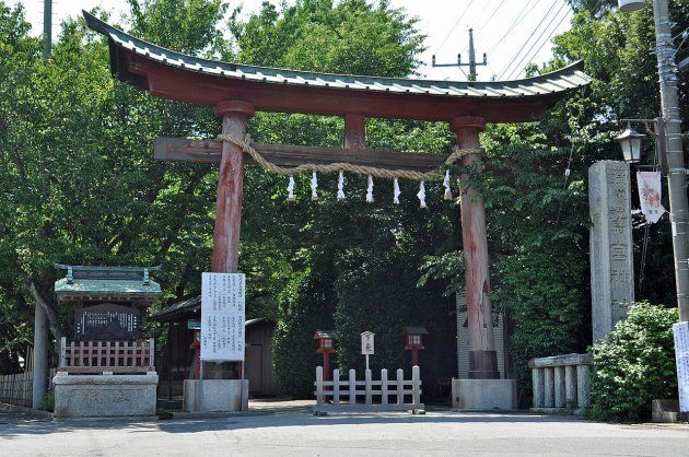 倒壊前の鷲宮神社の鳥居
