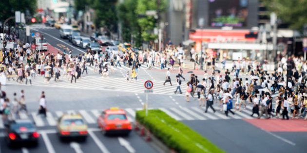 Famous six way pedestrian crossing photographed with tilt lens in Shibuya, Tokyo,