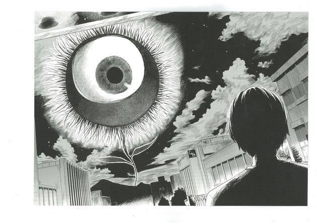 「惡の華」では、ルドンの有名な目玉の絵が象徴的に描かれている