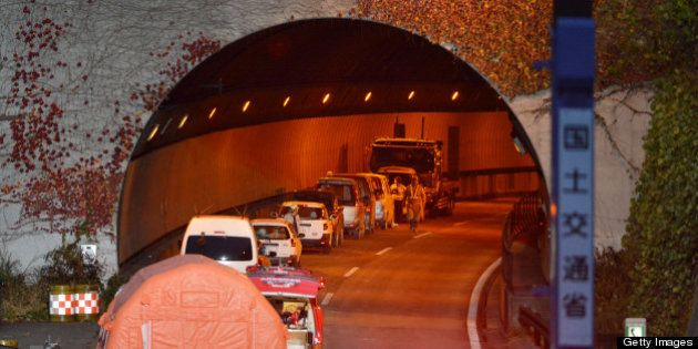 Picture shows the entrance of the Sasago tunnel along the Chuo highway near the city of Otsuki in Yamanashi...