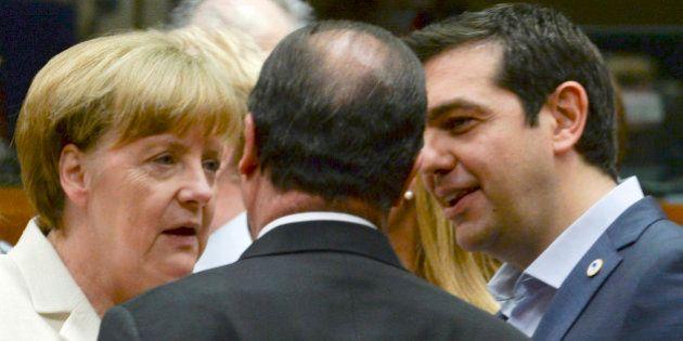 German Chancellor Angela Merkel, left, speaks with French President Francois Hollande, center, and Greek...