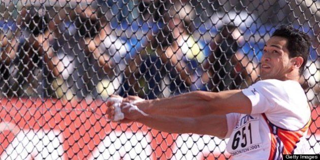 5 Aug 2001: Koji Murofushi of Japan in action during the mens hammer he claimed the silver medal during...