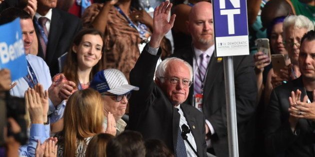 PHILADELPHIA, PA - JULY 26:Senator Bernie Sanders along with the Vermont delegation and his wife Jane...