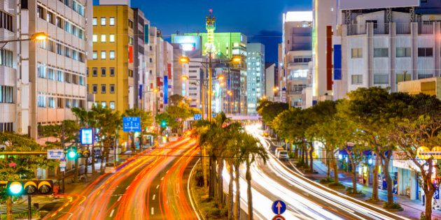 Naha, Okinawa, Japan downtown cityscape over the