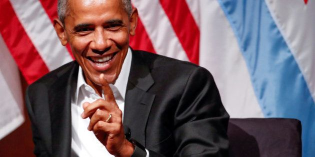 Former U.S. President Barack Obama speaks during a meeting with youth leaders at the Logan Center for...