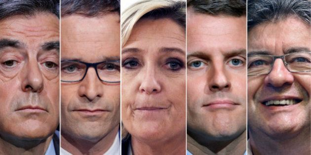 A combination picture shows five candidates for the French 2017 presidential election, from L-R, Francois...