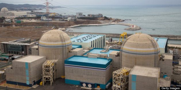 The No. 1, right, and No. 2 reactor buildings stand at Korea Hydro & Nuclear Power Co.'s Shin-Kori nuclear...