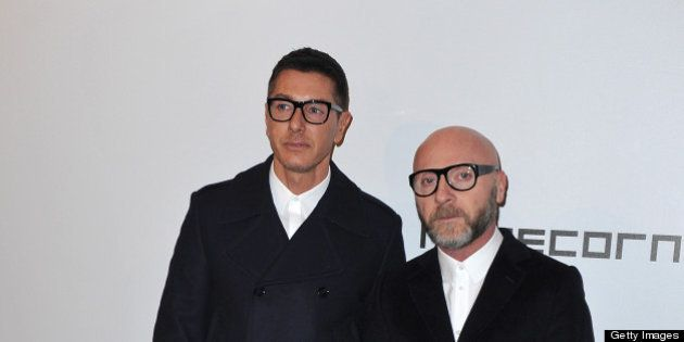 MILAN, ITALY - FEBRUARY 23: Stefano Gabbana and Domenico Dolce attend the Vogue Talents Corner - Vogue...