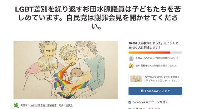 約2万7千筆の署名が集まったchange.orgのページ