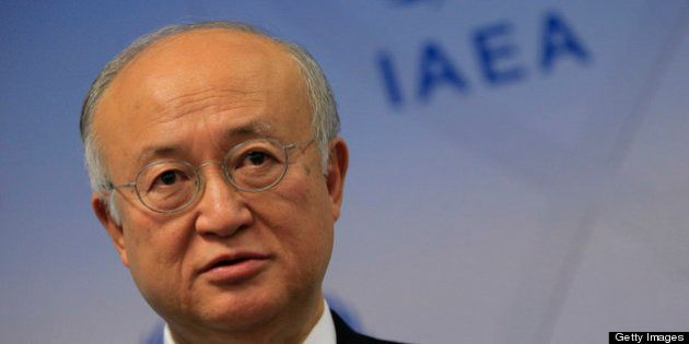 Japanese General Director of International Atomic Energy Agency (IAEA) Yukiya Amano is pictured during...