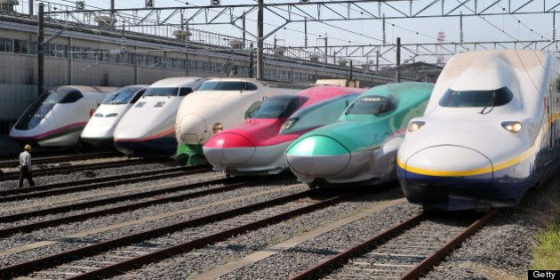 OYAMA, JAPAN - MAY 19: (CHINA OUT, SOUTH KOREA OUT) All successive series of Tohoku Shinkansen bullet...