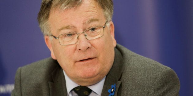 Denmark's Defence Minister Claus Hjort Frederiksen speaks during a press conference after the official...