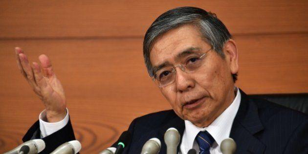 Bank of Japan (BOJ) Governor Haruhiko Kuroda speaks to the press at the BOJ headquarters in Tokyo on...