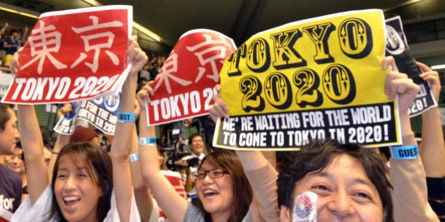 People celebrate as Tokyo wins the host city of the 2020 Olypics at the live-viewing event in Tokyo on...