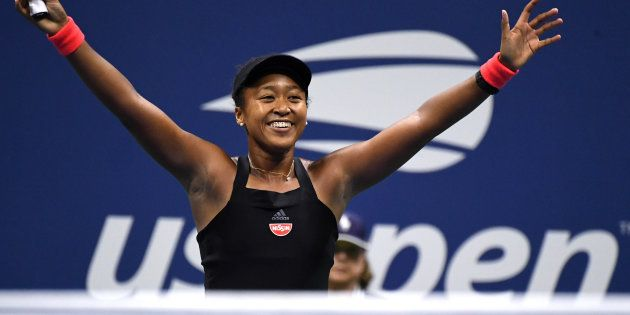 全米オープンテニス女子シングルスの準決勝で勝利を収めた大坂なおみ=ニューヨーク