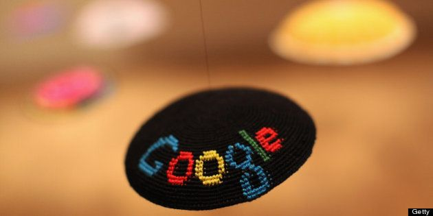 BERLIN, GERMANY - MAY 31: The Google logo is seen on a yamulke hanging at the Jewish Museum as part of...