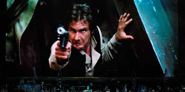 LAS VEGAS - MAY 29: Actor Harrison Ford's Han Solo character from 'Star Wars Episode VI: Return of the...