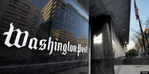 WASHINGTON, DC - FEBRUARY 20: Exterior view of the Washington Post building on L street on February,...