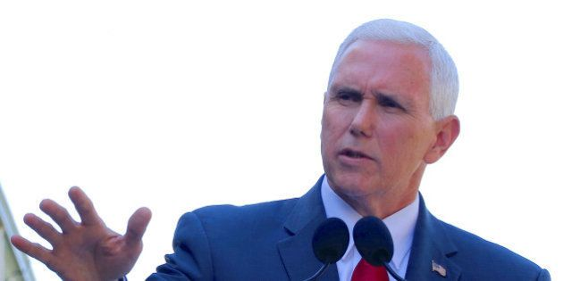 U.S. Vice President Mike Pence speaks during a media conference with Australia's Prime Minister Malcolm...