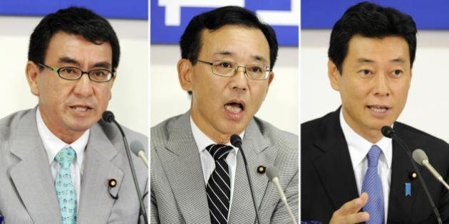 This combo picture shows three candidates for the election of Japan's opposition Liberal Democratic Party...