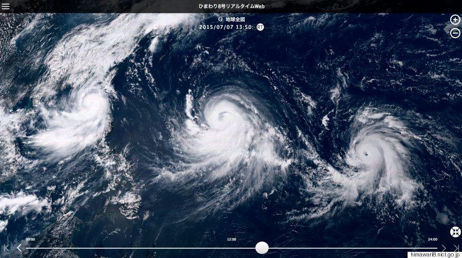 ひまわり8号、リアルタイム画像をネットで公開 トリプル台風もくっきり