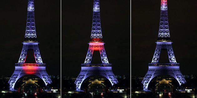 エッフェル塔が「ジャパンカラー」に染まった 皇太子さまが点灯