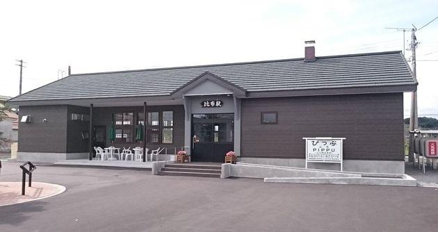 完成した新駅舎=2016年9月、りんどさん提供