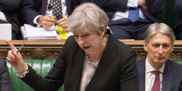 A still image from a video footage shows Britain's Prime Minister Theresa May addressing the House of...
