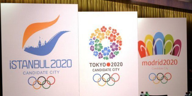 LAUSANNE, SWITZERLAND -JULY 3: Signs of Istanbul 2020, Tokyo 2020 and Madrid 2020 are pictured during...