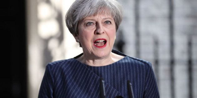 LONDON, ENGLAND - APRIL 18: Prime Minister Theresa May makes a statement to the nation in Downing Street...