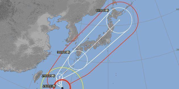台風24号の予想進路