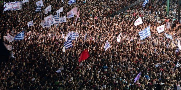 Thousands on 'NO' protesters gather in front of the parliament building in Athens on July 3, 2015. Greek...