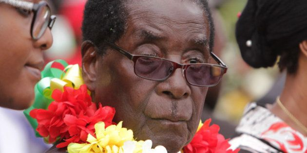 President Robert Mugabe is seen during celebrations to mark his 91st birthday in the resort town of Victoria...
