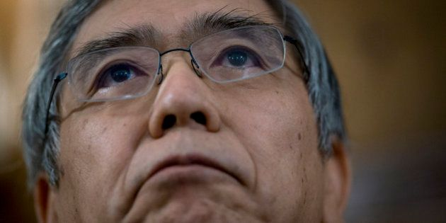 Haruhiko Kuroda, governor of the Bank of Japan (BOJ), listens at an event at the Council On Foreign Relations...