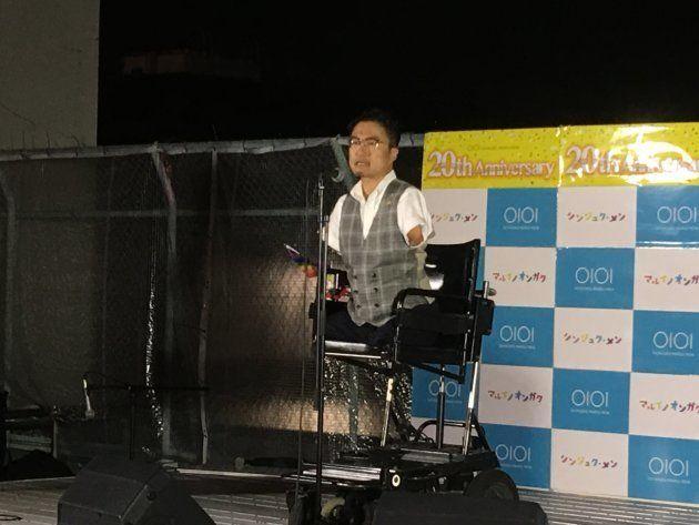 パレード後、新宿マルイ・メンが会場を提供し同所屋上で行われたクロージングイベント。乙武洋匡さんら参加者がスピーチ。