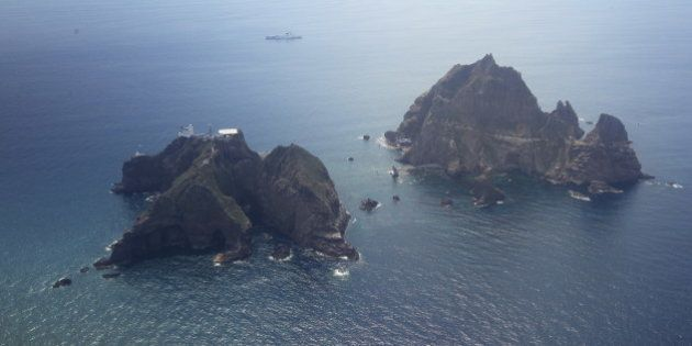 An aerial view of the remote islands disputed with Japan, known as Dokdo in Korea and Takeshima in Japan,...