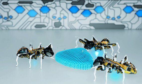 ロボットのアリや蝶、みんなでひとつの仕事をこなします