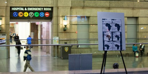NEW YORK, NY - OCTOBER 23, 2014: A health alert is displayed at the entrance to Bellevue Hospital October...
