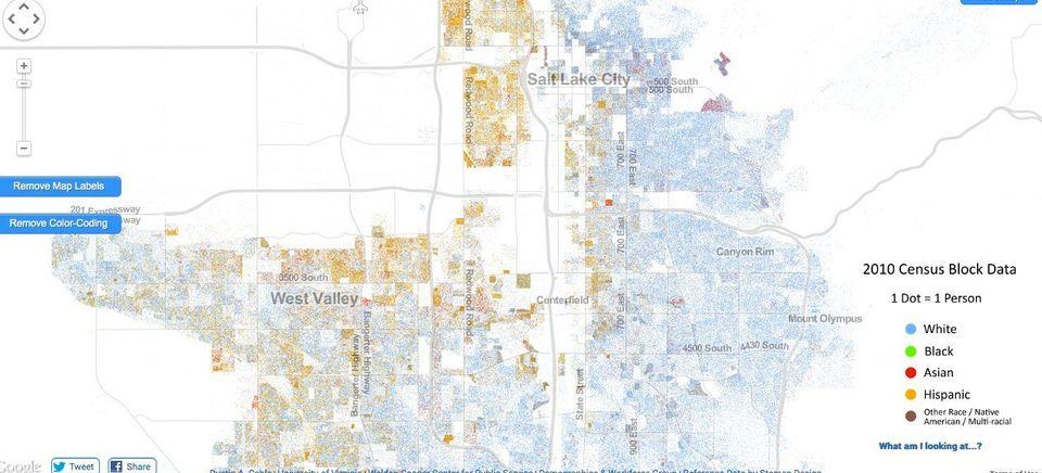 「人種の分布」1人1個の点で表す米国地図