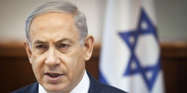 Israeli Prime Minister Benjamin Netanyahu chairs the weekly cabinet meeting at his Jerusalem office on...