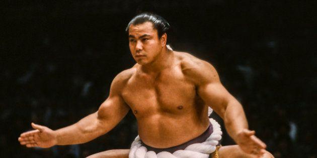 FUKUOKA, JAPAN - NOV 1983: Chiyonofuji Mitsugu, born as Akimoto Mitsugu, appears in a ceremony before...