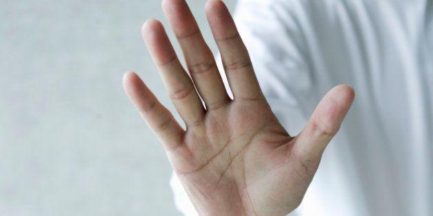 Businessman making hand gesture,close