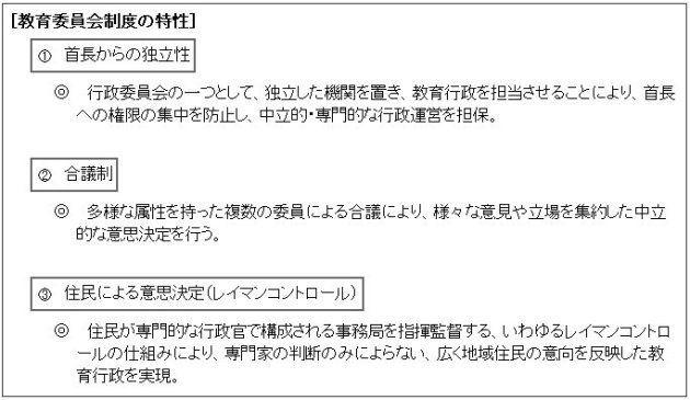 教育委員会制度の特性(文部科学省)
